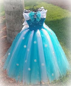 frozen inspired Elsa dress/cape with personally hand crafted snow flakes/ rhinestones. with slip on sleeves (or not) and a  rhinestone cape. by TuTuGenie on Etsy