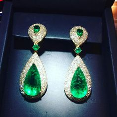 Pear Shaped emerald and diamond earrings