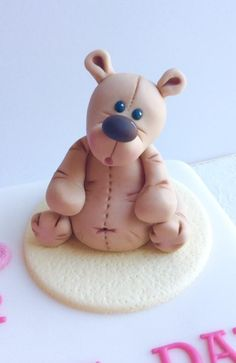 Teddy Bear Cake Topper - Cake by Lizzie Bizzie Cakes Fondant Teddy Bear, Teddy Bear Cakes, Clay Bear, Cute Polymer Clay, Modeling Chocolate, Gum Paste, Clay Creations, Christening, Biscuit