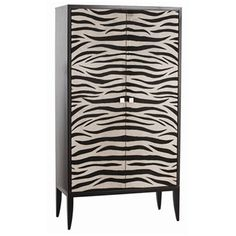 #arteriorshome #cabinet Bea Zebra Printed Hide/Wood Cabinet from Arteriors Home - 2335 - African influenced large cabinet  $5,040.00
