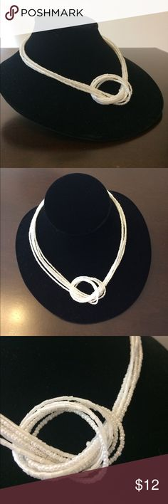 White & Silver Beaded Knotted Necklace Smoke free home. I discount bundles. Feel free to ask questions. Make an offer. Jewelry Necklaces