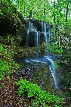 Hemlock Cliffs Falls, Indiana Hoosier National Forest-   Rob and I hiked with dad there the spring before he got sick...