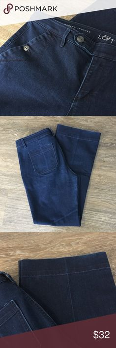 "{Ann Taylor LOFT} Modern Trouser Dark Wash Sz29/7 Ann Taylor Loft Modern Trouser in a dark wash. Button closure on pockets. Side button closure on zipper. Roughly 32"" inseam. Condition: Excellent Condition Size: 29/8 Color: Dark Wash Material: 72% Cotton 