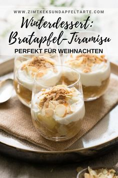 Baked apple tiramisu - the perfect dessert for Christmas with speculoos or . - Baked apple tiramisu – the perfect dessert for Christmas with speculoos or cantuccini – Egg fre - Winter Desserts, Christmas Desserts, Dessert Parfait, Bon Dessert, Smores Dessert, Baking Recipes, Cake Recipes, Meat Recipes, Cinnamon Biscuits