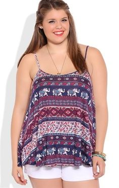 Deb Shops Plus Size Elephant Tribal Print Flowy Tank Top $12.75
