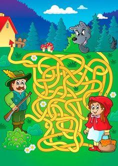 Maze 20 with fairy tale theme - picture illustration. Dyslexia Activities, Fall Preschool Activities, Language Activities, Kindergarten Fun, Fun Worksheets For Kids, Mazes For Kids, Fairy Tale Theme, Fairy Tales, Art Et Illustration