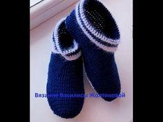 Тапочки крючком. Тапочки-сапожки на войлочной подошве.crochet slippers