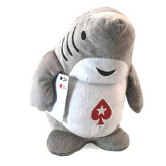 """PokerStars Shark Holding Aces 10"""" Plush Highly Collectible Discontinued HTF New"""