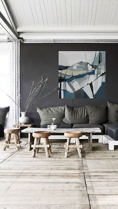 """36"""" x 36"""" large oil abstract landscape oil painting by Danielle Nelisse 