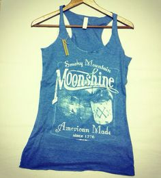 Vintage Moonshine Whiskey Smoky Mountain American Made Baby Blue Triblend Racerback Tank Top on Etsy, $19.99