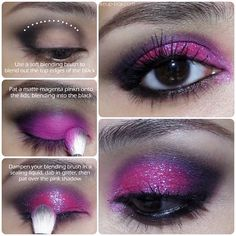 Magenta-#pink #Glitter #Eyeshadow Tutorial! A spot of mid-week fun in preparation for the weekend... http://www.makeup-box.com/post/58835276282/magenta-slippers-pink-glitter-eyeshadow #makeup #beauty #fuchsia #hotpink #color #sparkle #drama #style #black