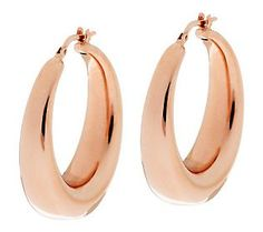 Bronzo Italia 1-1/4 Graduated Round Hoop Earrings - rose bronze color