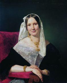 Portrait of Mrs Imre Szentgyörgyi  Artist:Ferdinand Georg Waldmüller ( Vienna 1793 –1865 Helmstreitmühle in der Hinterbrühl)  Szépművészeti Múzeum - Gyujtemenyi kereső angol - Artwork