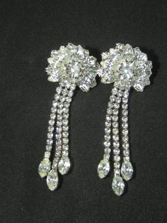 Dangling Clear Rhinestone Earring Pair Set Ladies Womens Costume Jewelry by HipTrends2015 on Etsy
