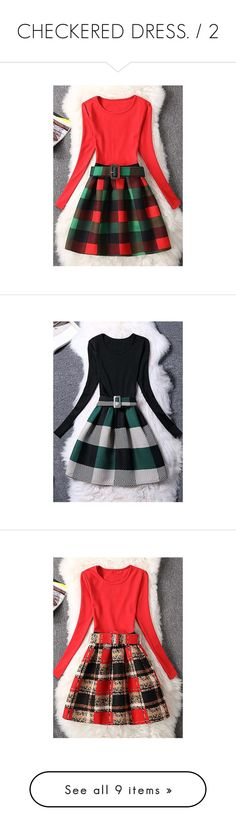 """CHECKERED DRESS. / 2"" by m-kints ❤ liked on Polyvore featuring dresses, red, long sleeve a line dress, long sleeve knee length dresses, red cotton dress, a line knee length dress, long sleeve cotton dress, green, green dress and green cotton dress"
