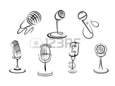 Retro microphones sketches set for art and musical design Stock Vector