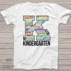 Kindergarten t-shirt back to school kindergarten shirt word collage tshirt – great for first day or any school day - SCHOOL NOTES School Notes, 100 Days Of School, First Day Of School, Back To School, School Stuff, School Spirit Shirts, School Shirts, School Wear, School Uniform