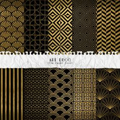 Black and Gold Art Deco Digital Scrapbook Papers  - 10 Great Gatsby Retro Patterns Digital Layouts - (300dpi 12x12 - JPG) Instant Download by ThePaperTown on Etsy