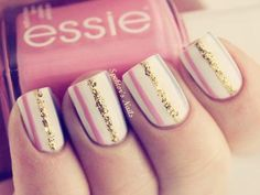 Fall 2013 Fashion Trends White Coral Pink Glittery Gold Striped Nail Polish Manicure