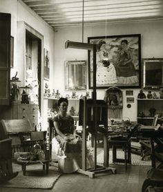 Frida Kahlo in her studio 1940s.
