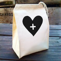 Eco Lunch Sack with Big Heart design Recycled