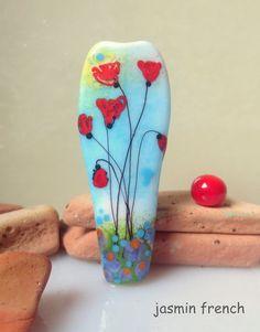 jasmin french ' poppy meadow ' lampwork focal bead by jasminfrench