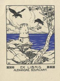 Bookplate by Burkhard Mangold (Aus) for Alexandre Bourcart, 1904