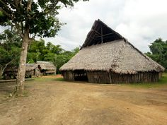 The central building of the artificial village near Iquitos, where members of the Bora tribe perform traditional dances and sell handmade crafts.
