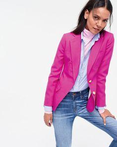 J.Crew women's Rhodes blazer, featherweight cashmere turtleneck and lookout high-rise jean in Chandler wash.
