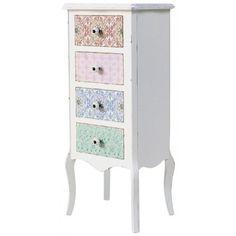 Prowansalska, kolorowa komoda z kwiecistymi wzorkami na frontach szuflad, napełni twoje wnętrze radością i barwą. Nie omiń takiej okazji! Zapraszamy!