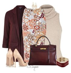 Floral Skirt & Burgundy by ccroquer on Polyvore featuring polyvore, fashion, style, River Island, Topshop, Glamorous, Gianvito Rossi, Hermès, Avalaya, Majorica and clothing