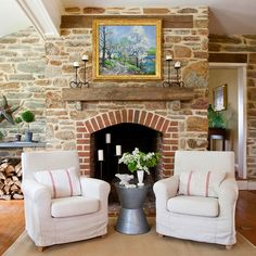 We'd love to cozy up to this fireplace this fall. More fireplace designs we love: http://www.bhg.com/decorating/fireplace/styles/fireplace-designs/#page=13