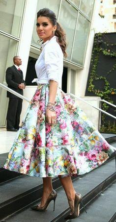 5c9276b0f86c5 Estampado Floral   flower pattern click for more! A Line Skirts