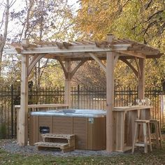 Spa Breeze Cedar Pergola 11x9 by Outdoor Living Today. $2115.99. Give your spa area a sense of distinction with this elegant pergola.. 11' x 9' Breeze Spa Shelter Quality Craftsmanship & Design Owning a hot tub is all about making time for yourself and your family. Make it quality time with our Breeze Spa Shelter - a gorgeous and finely crafted open-air structure. A little serenity for your soup. Kit Features: Notched and Pre-drilled Girders Notched and Pre-marked Joists 4 - 5 ...