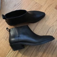 Black Minimal heel boots 6 Alexander wang Worn 1X only! Still has box. & other stories brand only available in NEW YORK stores. Very Alexander-esq boot! Selling because they're not my size. They are the perfect black boots with about 2 inch heel. Box says 5.5 but it runs big and fits a 6. Alexander Wang Shoes Ankle Boots & Booties
