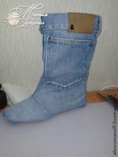 How to make shoes out of jeans / HandWork Art Blue Jean Shoes, Shoes With Jeans, Denim Boots, Jeans And Boots, Doll Shoe Patterns, Denim Ideas, Denim Crafts, Recycled Denim, Crochet Shoes