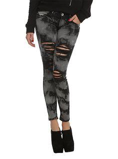 Machine Black Acid Wash Destroyed Skinny Jeans | Hot Topic