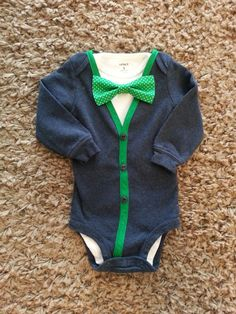 Navy+Blue+Baby+Boy+Cardigan+Onesie+with+2+by+LinzyDawnDesigns,+$30.00