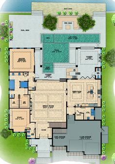 Contemporary Style House Plan - 4 Beds 6 Baths 6300 Sq/Ft Plan #548-21 Floor Plan - Main Floor Plan - Houseplans.com