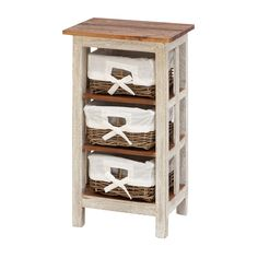DecMode Solid Wood 3 Basket Rattan Cabinet   Add Casual Cottage Charm And  Storage To Your Kitchen With This DecMode Solid Wood 3 Basket Rattan Cabinet  .