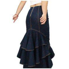 Elegante asimétrico Micro-elásticas Fishtail falda vaquera sirena Maxi Faldas largas de las mujeres gitanas con Volantes Dark Blue S-XL
