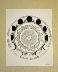 Moon Phase Mandala Original Art Poster by artforkatz on Etsy, $13.00