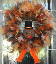 Thanksgiving Turkey Wreath by CraftyCrystalDesigns on Etsy Fall Crafts, Holiday Crafts, Holiday Fun, Family Holiday, Holiday Decor, Wreath Crafts, Diy Wreath, Wreath Ideas, Door Wreaths
