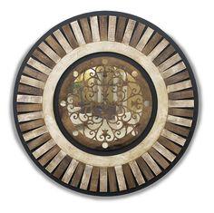 Mandala decorativa em MDF, com aplicação de escultura em MDF betumado sobreposta sobre espelho - Ø 90 cm - 13192 - R$ 480,00.