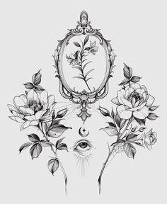 Diana Severinenko on Behance Tattoo Design Drawings, Tattoo Sketches, Tattoo Designs, Fine Line Tattoos, Body Art Tattoos, Small Tattoos, Dotwork Tattoo Mandala, Flower Outline, Floral Tattoo Design