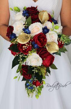 Red Bouquet Wedding, Bride Bouquets, Wedding Bride, Wedding Stuff, Cascading Wedding Bouquets, Ballroom Wedding, Dream Wedding, Christmas Wedding Flowers, Christmas Greenery
