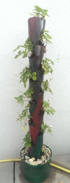 PVC Rohr Blumen-/Erdbeerbeet, Recycling, Upcyling, Selbermachen, DIY