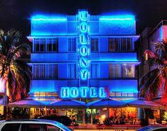 Colony Hotel Ocean Drive Night Photography by Roman Gerardo