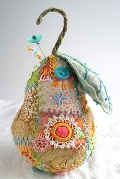 crazy quilted pear pincushion by thu.scorpion