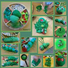"Caterpillars and other creatures with play dough - from Rachel ("",)"
